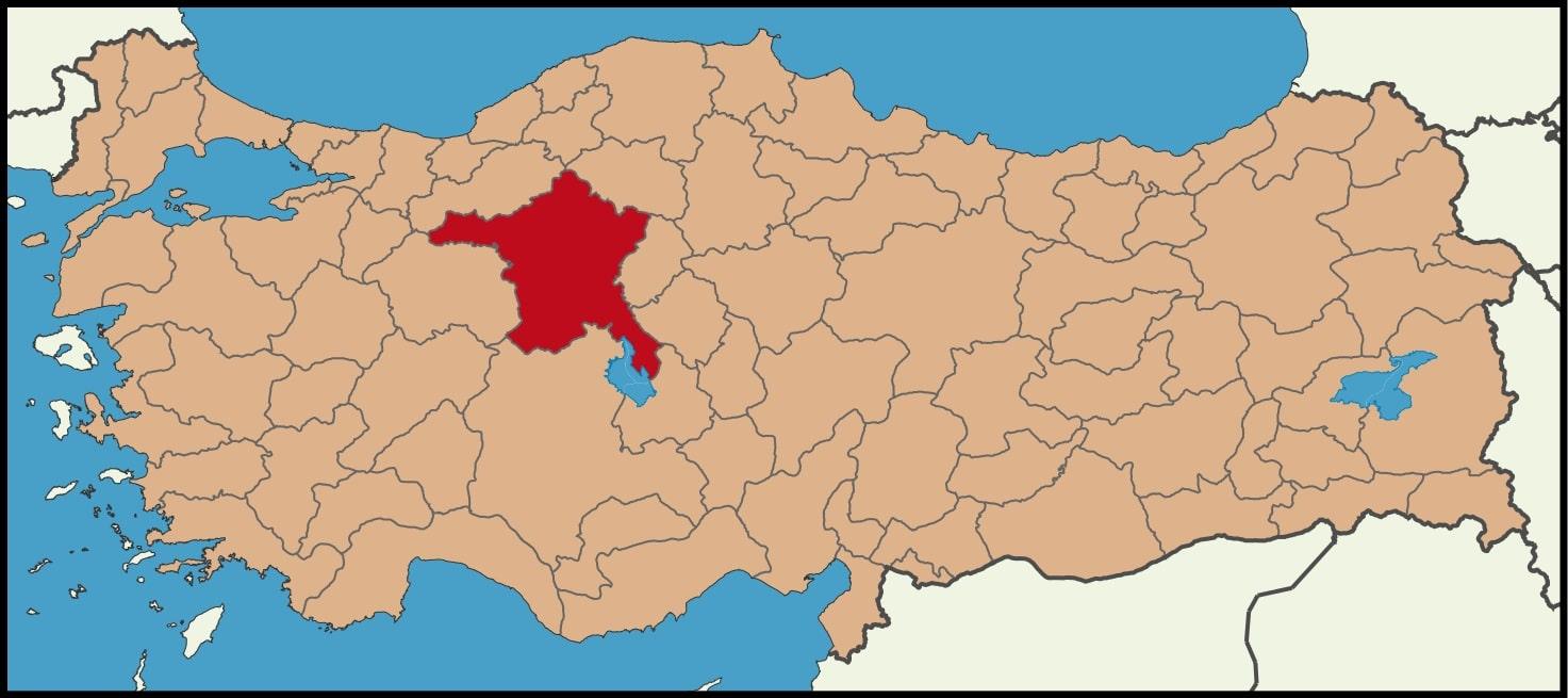 Ankara Şehrinin Türkiye haritasındaki konumu