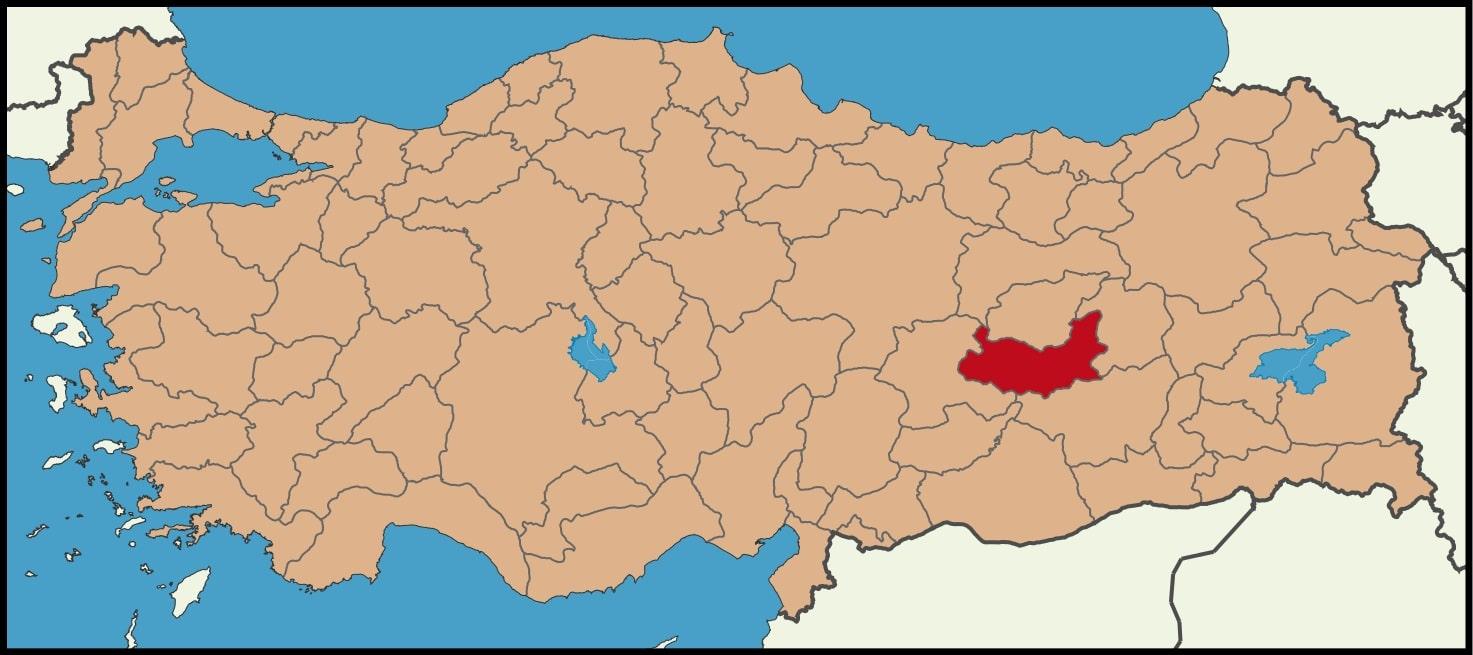 Elazığ Şehrinin Türkiye haritasındaki konumu