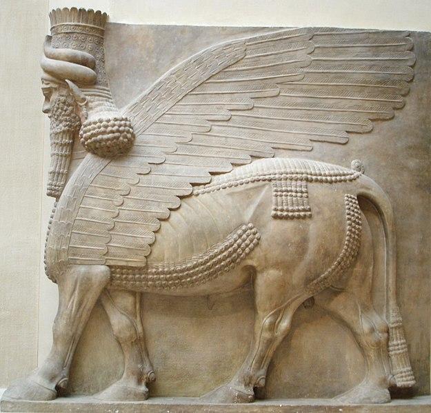 İnsan kafalı, kanatlı boğa Lamassu