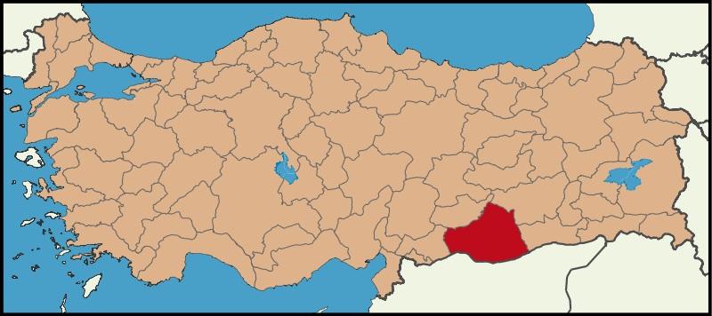 Şanlıurfa Şehrinin Türkiye haritasındaki konumu