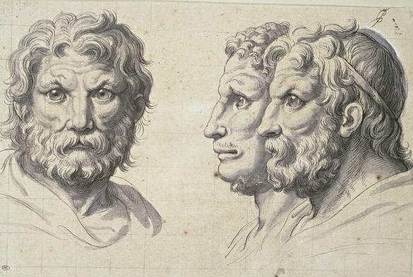 Charles le Brun tarafından 1671 yılında çizilen aslan kafalı üç insan tasviri