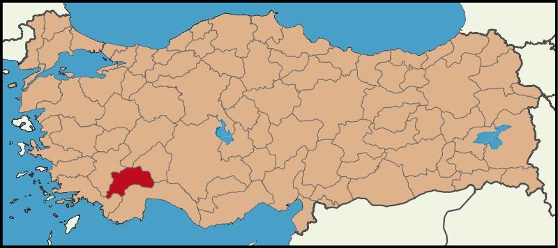 Burdur Şehrinin Türkiye haritasındaki konumu