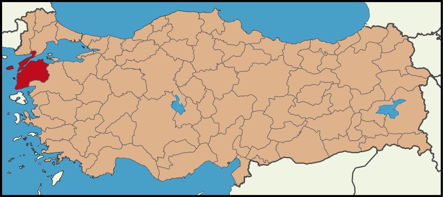 Çanakkale Şehrinin Türkiye haritasındaki konumu