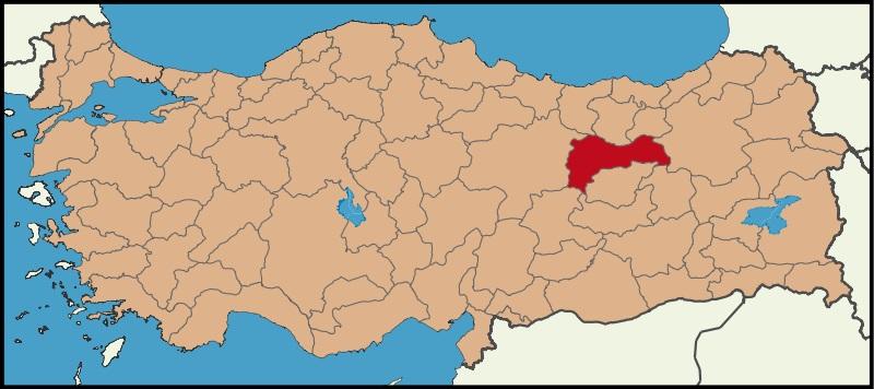 Erzincan Şehrinin Türkiye haritasındaki konumu