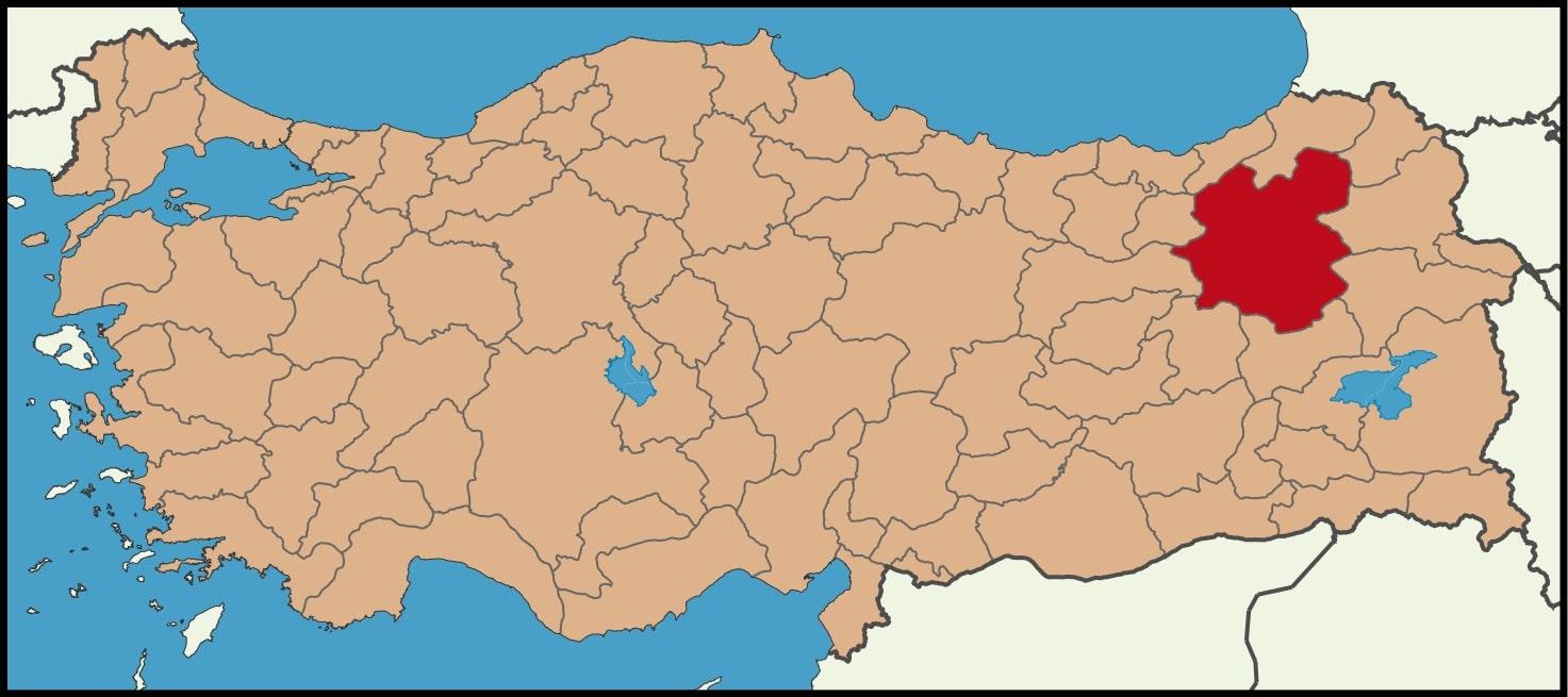 Erzurum Şehrinin Türkiye haritasındaki konumu
