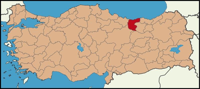 Giresun Şehrinin Türkiye haritasındaki konumu