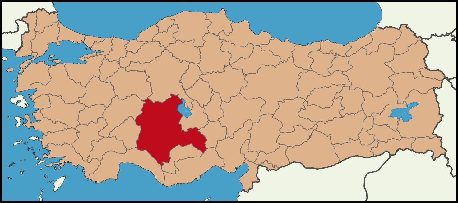Konya Şehrinin Türkiye haritasındaki konumu