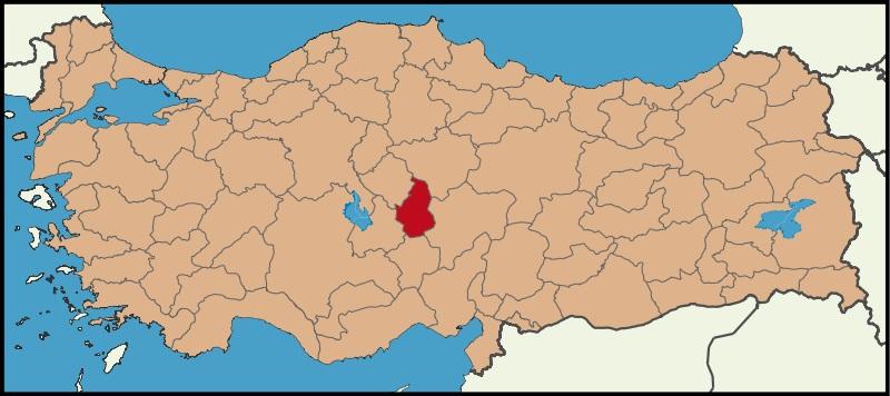 Nevşehir Şehrinin Türkiye haritasındaki konumu