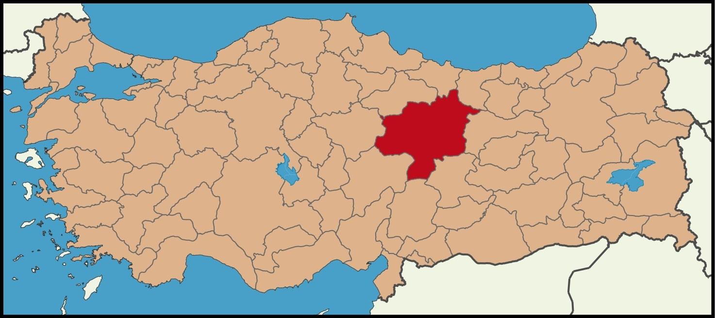 Sivas Şehrinin Türkiye haritasındaki konumu