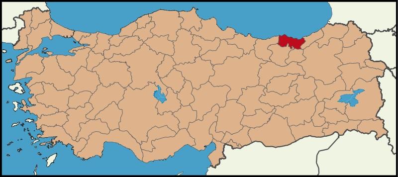 Trabzon Şehrinin Türkiye haritasındaki konumu
