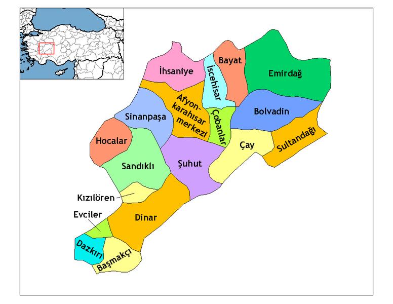 Afyonkarahisar İlçelerinin Haritası