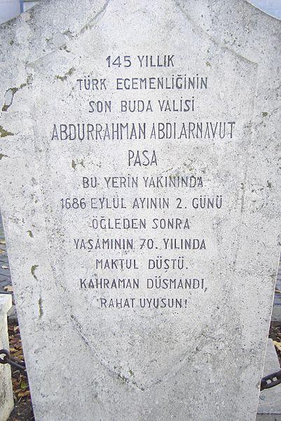 Abdi Paşa'nın Mezarı Türkçe Yazıları
