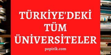 türkiyedeki tüm üniversiteler tam liste